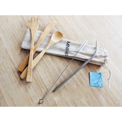 Ensemble d'ustensiles en bambou avec paille réutilisable MINIHIP