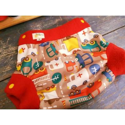Couvre-couche motif construction contour rouge ou noir- PRÊT-À-PARTIR