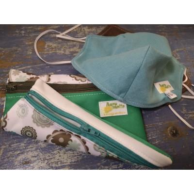 Pochette imperméable double (propre/sale) avec  masque lavable LARGE de couleur jade